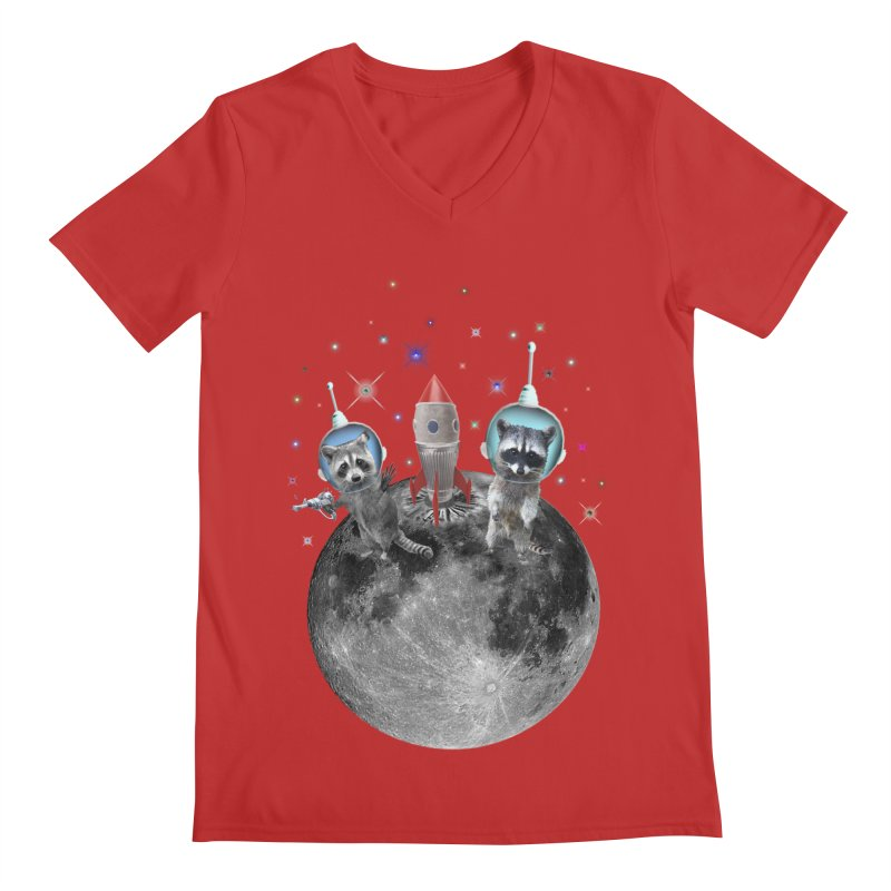 Raccoons in Space Trash Panda Moon Landing Men's Regular V-Neck by heARTcart's Artist Shop