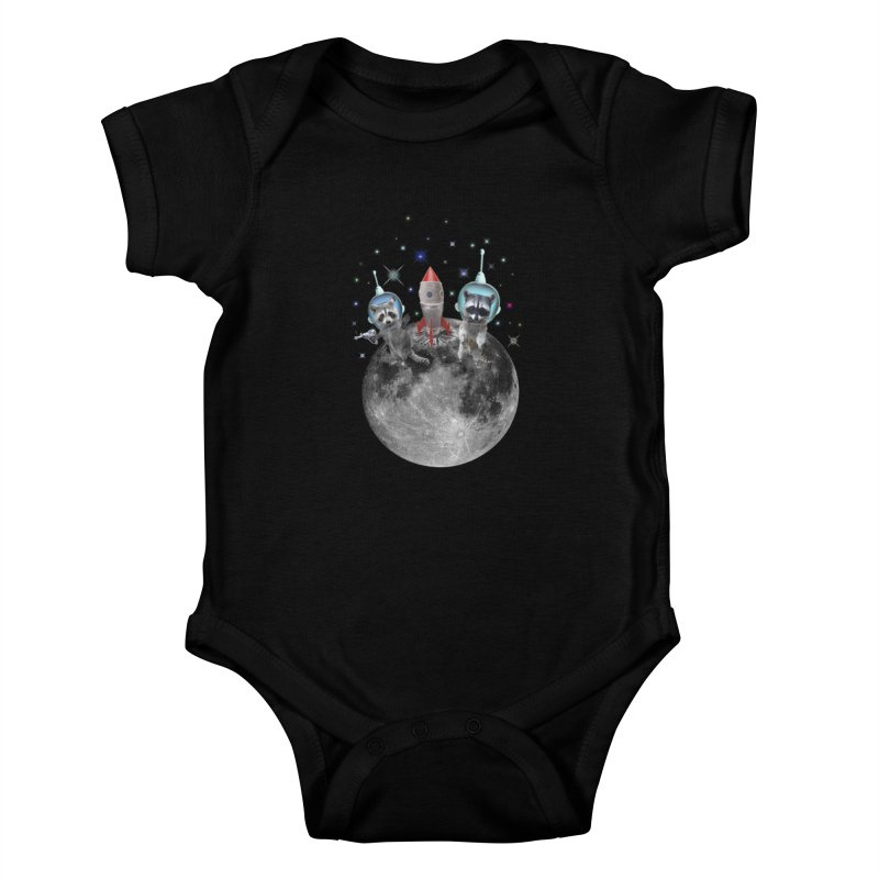 Raccoons in Space Trash Panda Moon Landing Kids Baby Bodysuit by heARTcart's Artist Shop