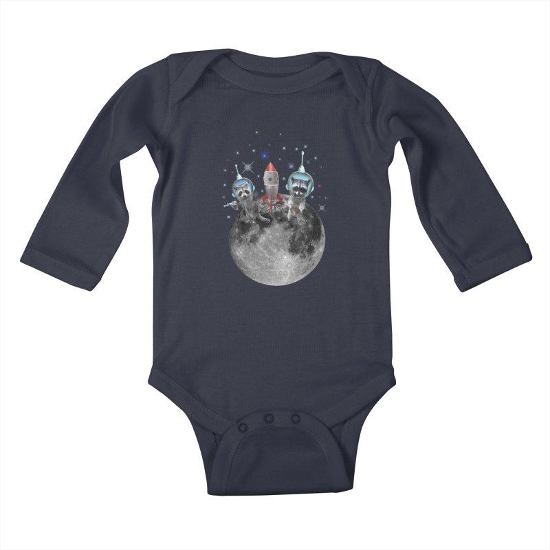 Raccoons in Space Trash Panda Moon Landing Kids Baby Longsleeve Bodysuit by heARTcart's Artist Shop