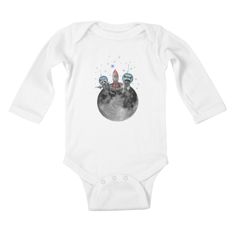 Raccoons in Space Trash Panda Moon Landing Kids Baby Longsleeve Bodysuit by heARTcart's Artist Shop
