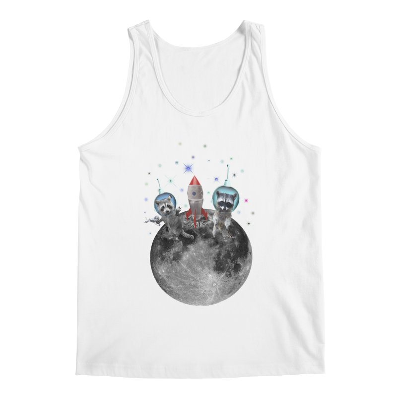 Raccoons in Space Trash Panda Moon Landing Men's Regular Tank by heARTcart's Artist Shop