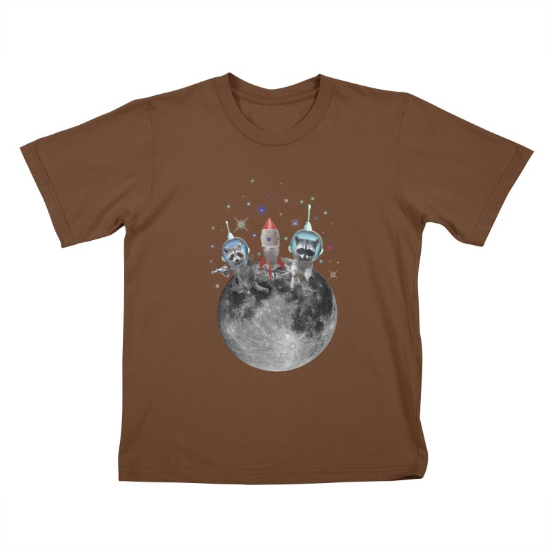 Raccoons in Space Trash Panda Moon Landing Kids T-Shirt by heARTcart's Artist Shop