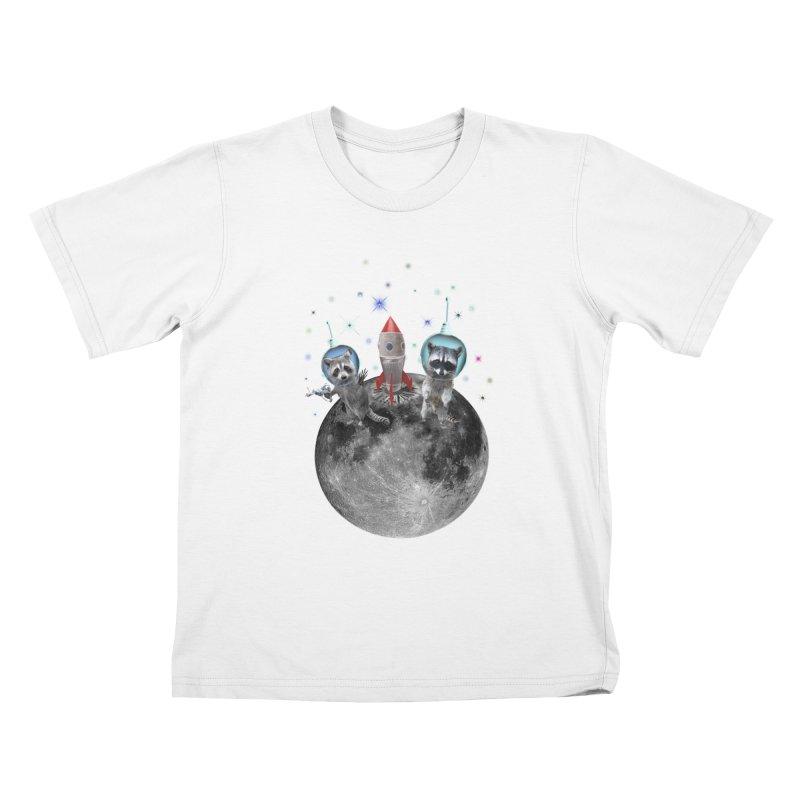 Raccoons in Space Trash Panda Moon Landing Kids T-Shirt by heARTcart's Artist Shop