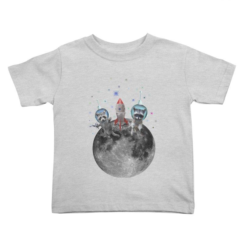 Raccoons in Space Trash Panda Moon Landing Kids Toddler T-Shirt by heARTcart's Artist Shop