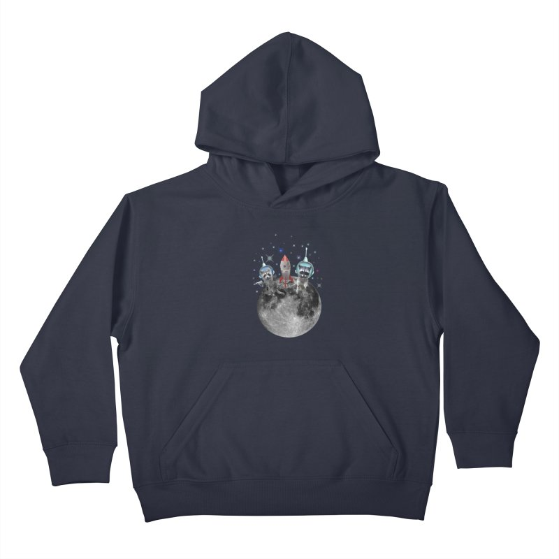 Raccoons in Space Trash Panda Moon Landing Kids Pullover Hoody by heARTcart's Artist Shop