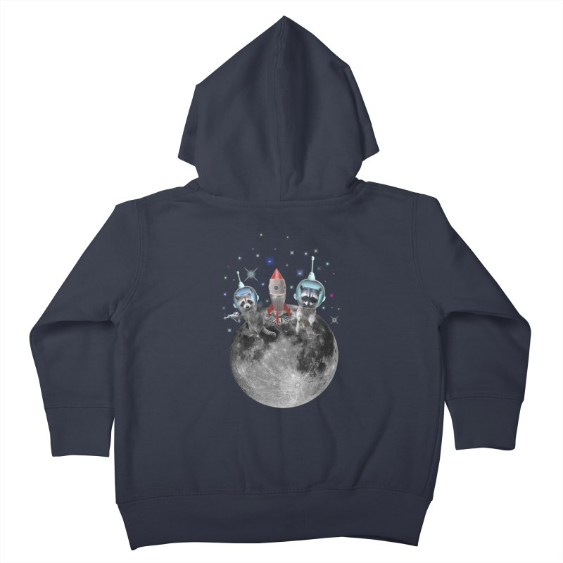 Raccoons in Space Trash Panda Moon Landing Kids Toddler Zip-Up Hoody by heARTcart's Artist Shop