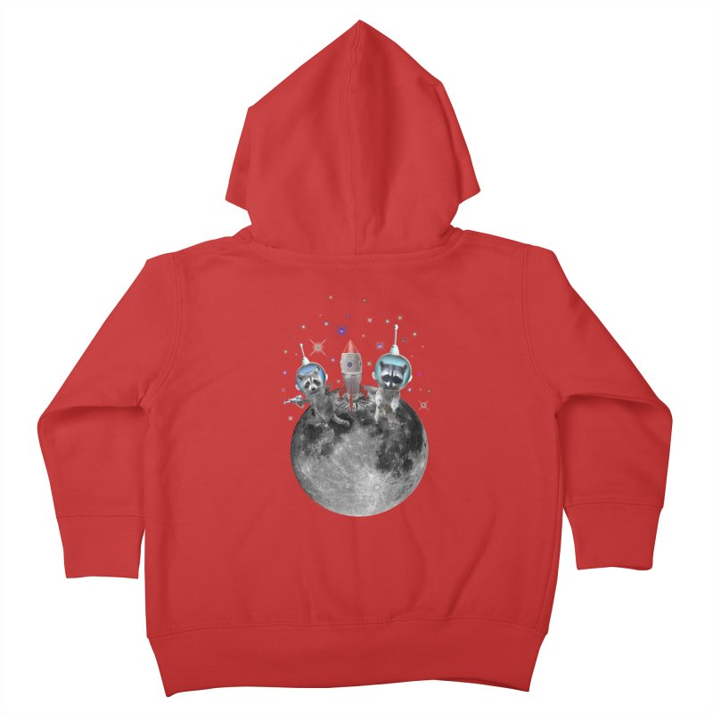 Raccoons in Space Trash Panda Moon Landing Kids Toddler Zip-Up Hoody by heARTcart's Artist Shop