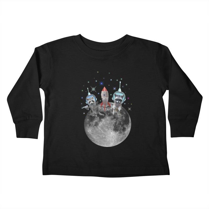 Raccoons in Space Trash Panda Moon Landing Kids Toddler Longsleeve T-Shirt by heARTcart's Artist Shop