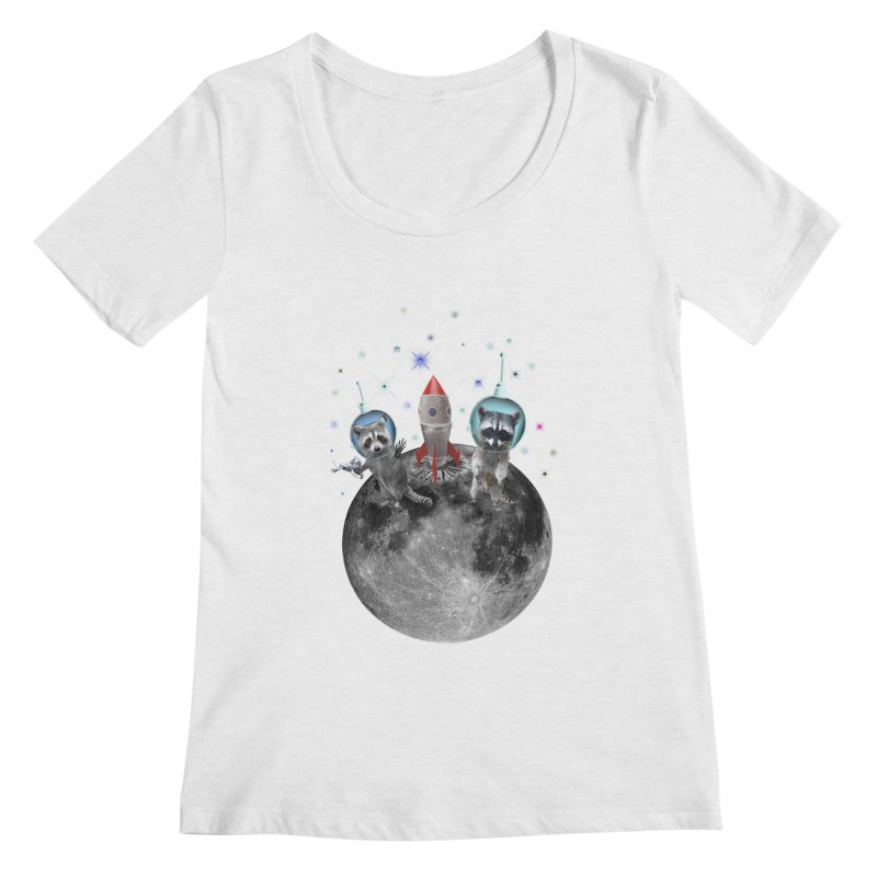 Raccoons in Space Trash Panda Moon Landing Women's Regular Scoop Neck by heARTcart's Artist Shop