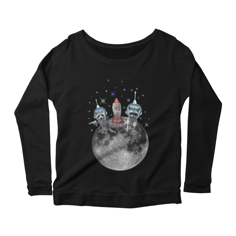Raccoons in Space Trash Panda Moon Landing Women's Scoop Neck Longsleeve T-Shirt by heARTcart's Artist Shop
