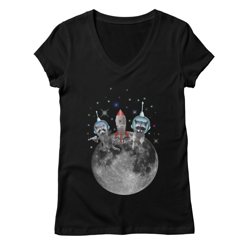 Raccoons in Space Trash Panda Moon Landing Women's Regular V-Neck by heARTcart's Artist Shop