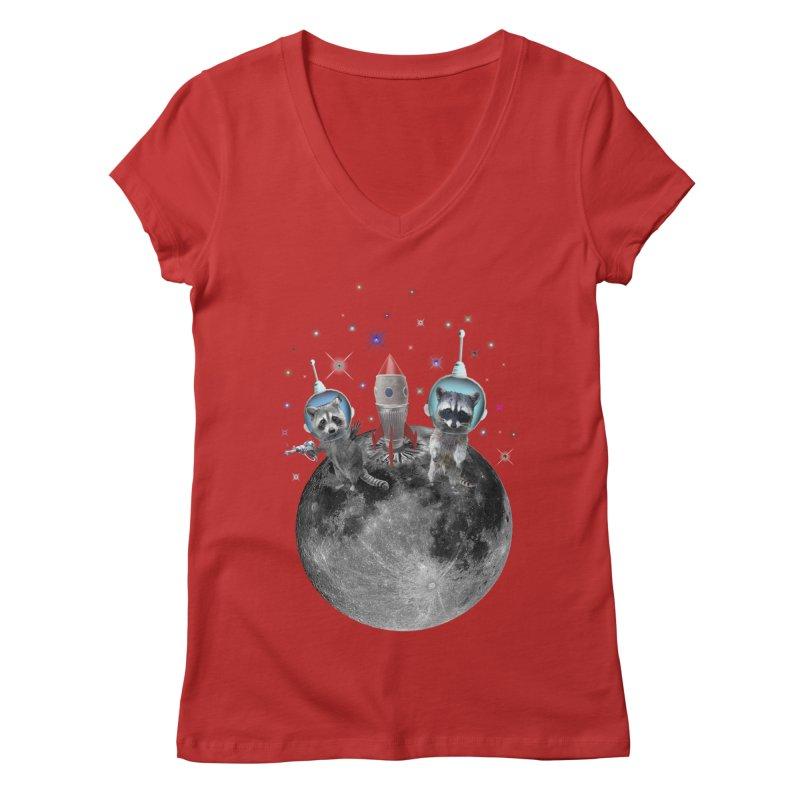 Raccoons in Space Trash Panda Moon Landing Women's Regular V-Neck by heARTcart's Artist Shop