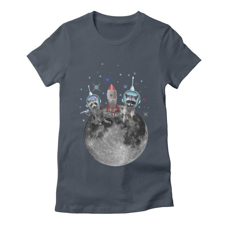 Raccoons in Space Trash Panda Moon Landing Women's T-Shirt by heARTcart's Artist Shop