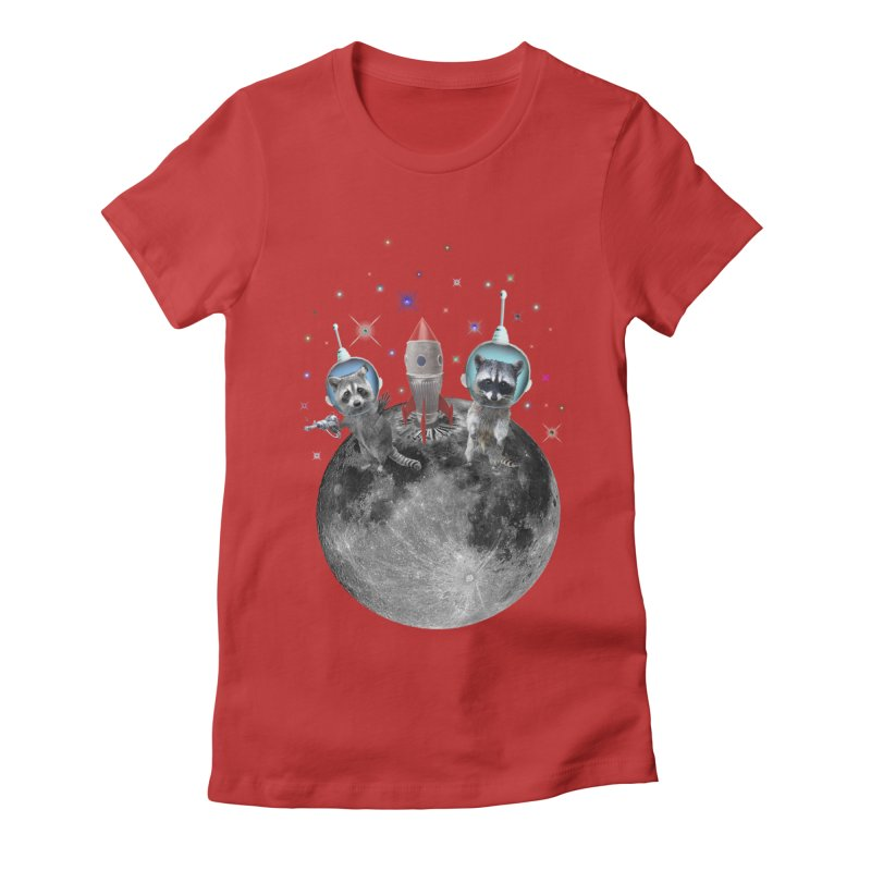 Raccoons in Space Trash Panda Moon Landing Women's Fitted T-Shirt by heARTcart's Artist Shop