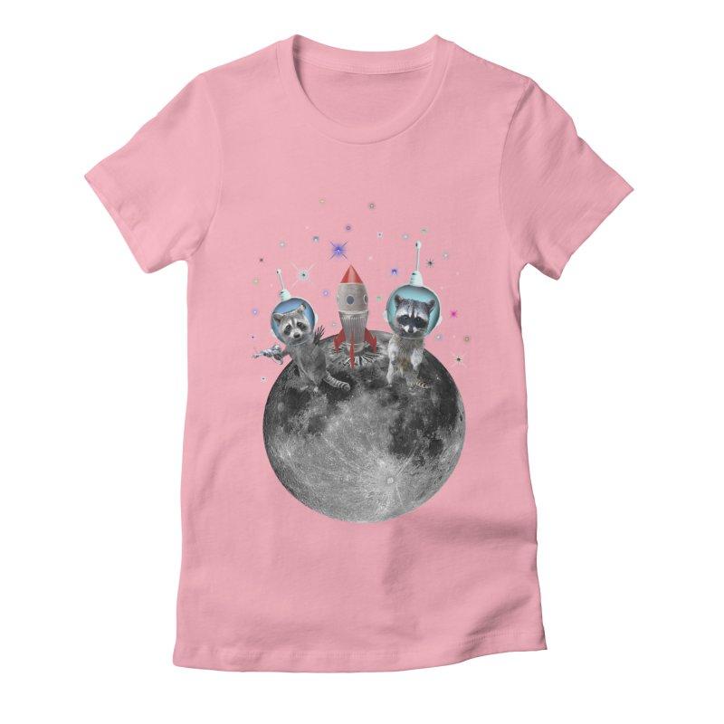 Raccoons in Space Trash Panda Moon Landing Women's Fitted T-Shirt by heARTcart's Artist Shop