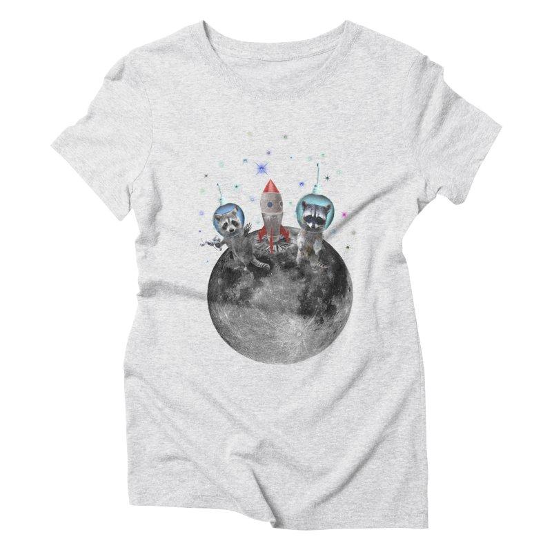Raccoons in Space Trash Panda Moon Landing Women's Triblend T-Shirt by heARTcart's Artist Shop