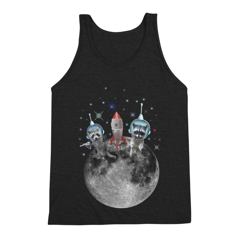 Raccoons in Space Trash Panda Moon Landing Men's Triblend Tank by heARTcart's Artist Shop