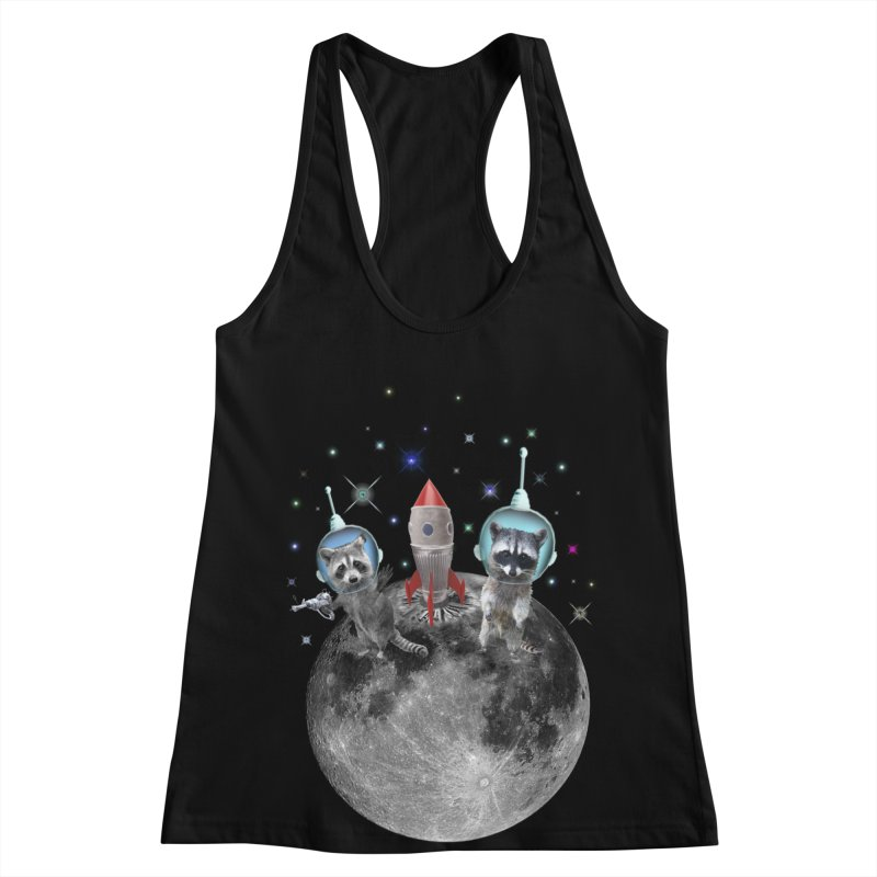Raccoons in Space Trash Panda Moon Landing Women's Tank by heARTcart's Artist Shop