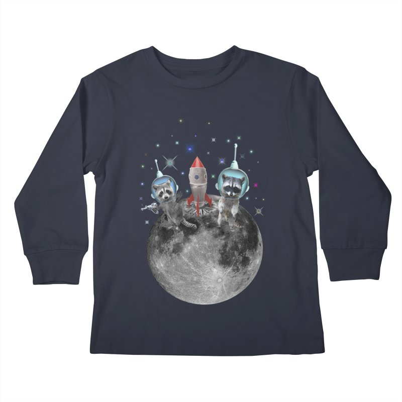 Raccoons in Space Trash Panda Moon Landing Kids Longsleeve T-Shirt by heARTcart's Artist Shop