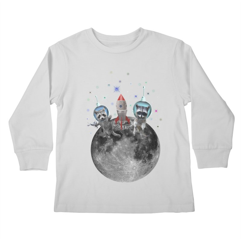 Raccoons in Space Trash Panda Moon Landing Kids Longsleeve T-Shirt by heARTcart's Artist Shop