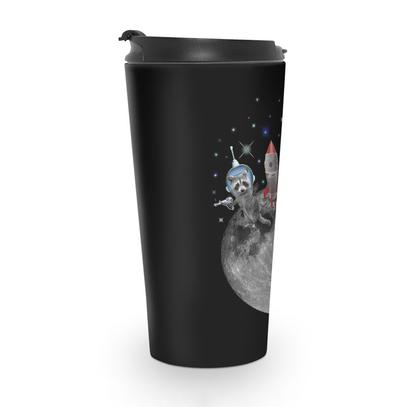 Raccoons in Space Trash Panda Moon Landing Accessories Travel Mug by heARTcart's Artist Shop