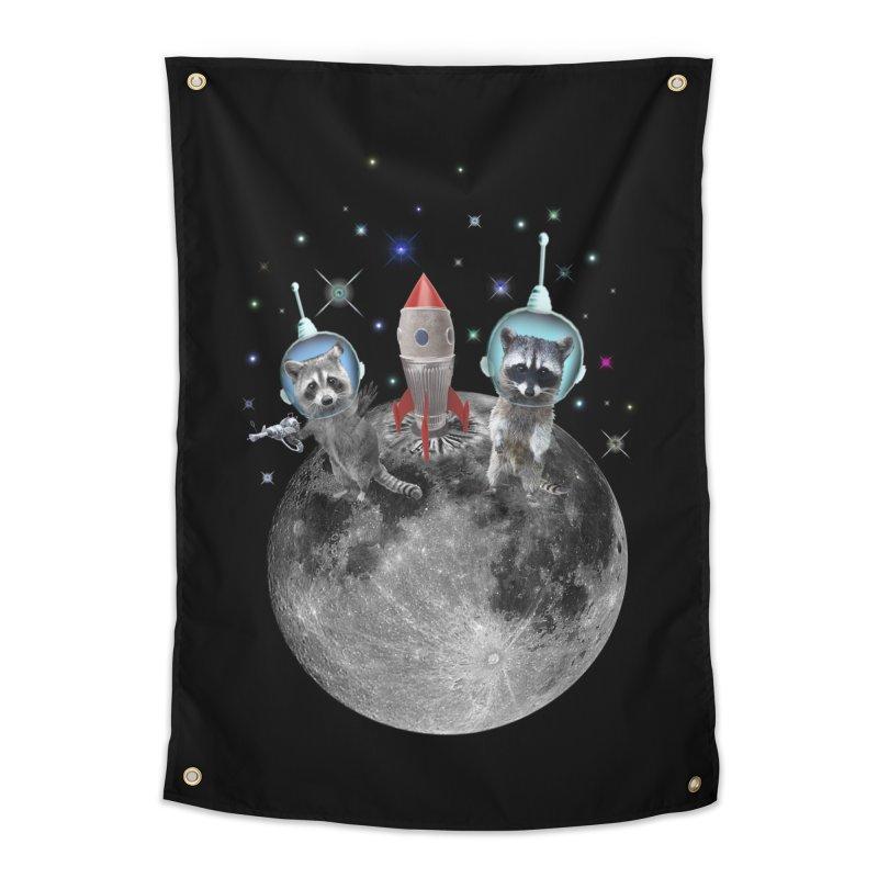 Raccoons in Space Trash Panda Moon Landing Home Tapestry by heARTcart's Artist Shop