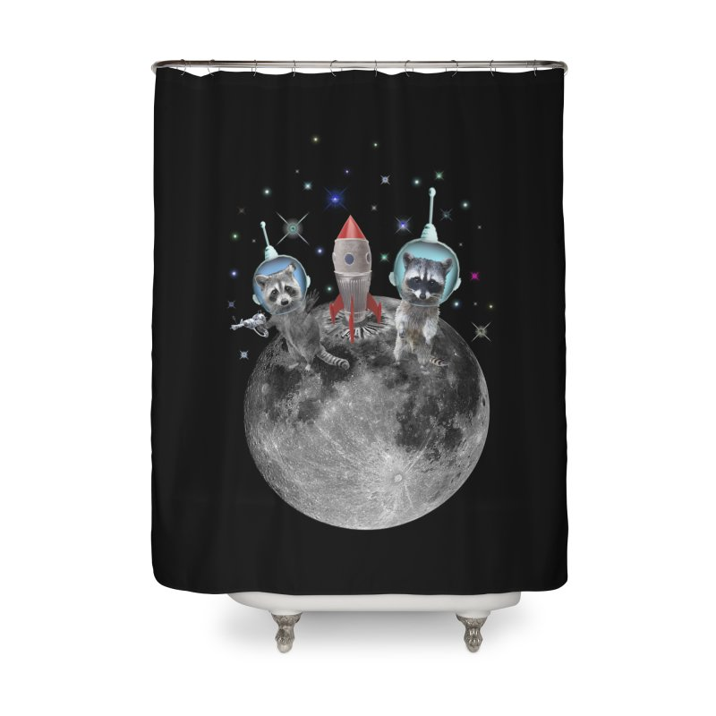 Raccoons in Space Trash Panda Moon Landing Home Shower Curtain by heARTcart's Artist Shop