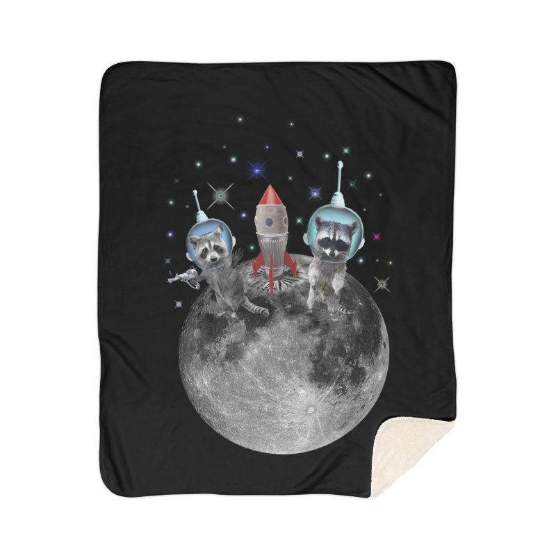 Raccoons in Space Trash Panda Moon Landing Home Sherpa Blanket Blanket by heARTcart's Artist Shop
