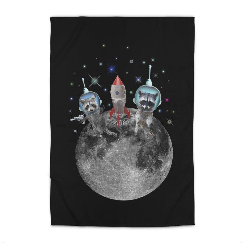 Raccoons in Space Trash Panda Moon Landing Home Rug by heARTcart's Artist Shop