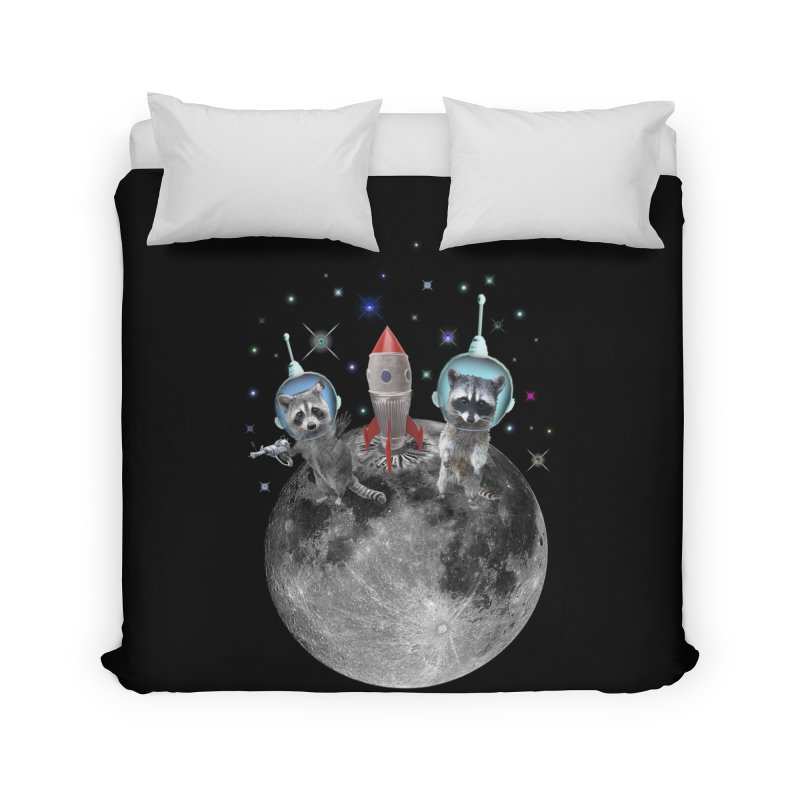 Raccoons in Space Trash Panda Moon Landing Home Duvet by heARTcart's Artist Shop