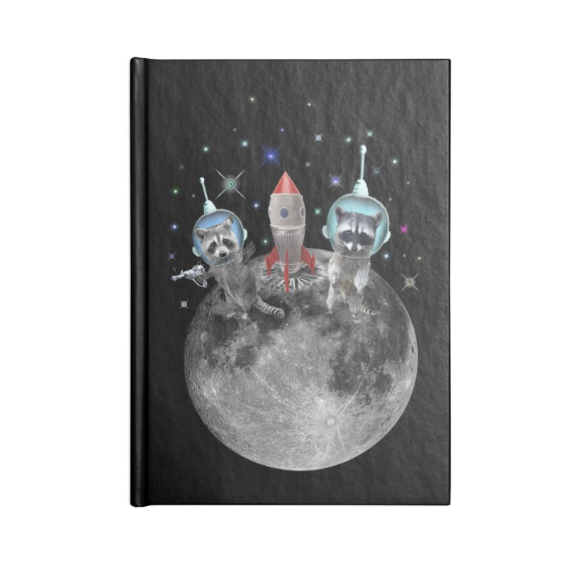 Raccoons in Space Trash Panda Moon Landing Accessories Lined Journal Notebook by heARTcart's Artist Shop