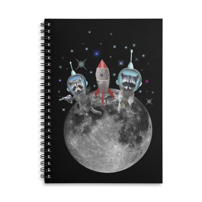Raccoons in Space Trash Panda Moon Landing Accessories Lined Spiral Notebook by heARTcart's Artist Shop