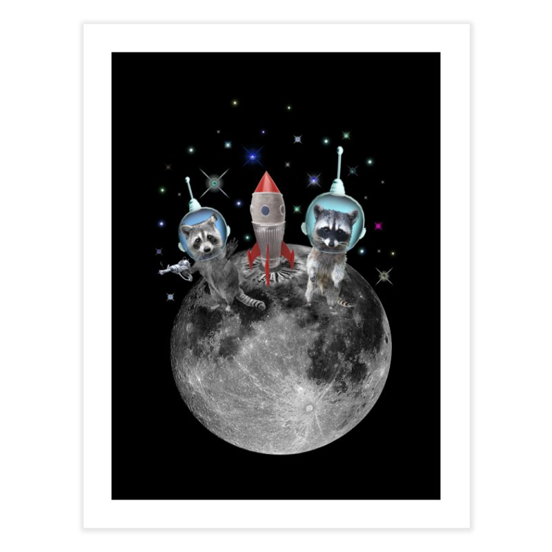 Raccoons in Space Trash Panda Moon Landing Home Fine Art Print by heARTcart's Artist Shop