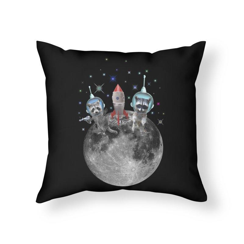 Raccoons in Space Trash Panda Moon Landing Home Throw Pillow by heARTcart's Artist Shop