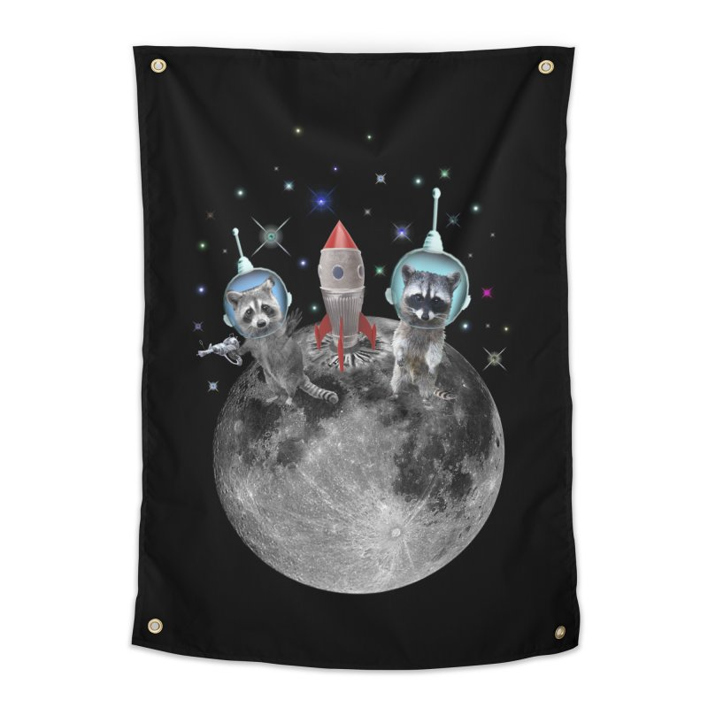 Raccoons in Space Trash Panda Moon Landing Home Tapestry by heARTcart's Artist Shop