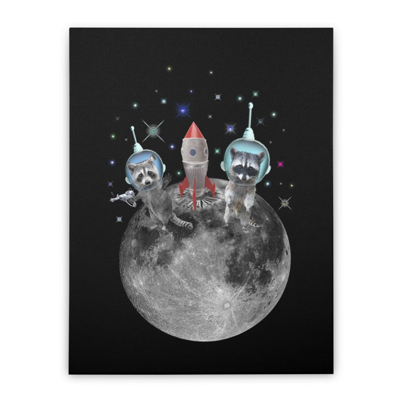 Raccoons in Space Trash Panda Moon Landing Home Stretched Canvas by heARTcart's Artist Shop