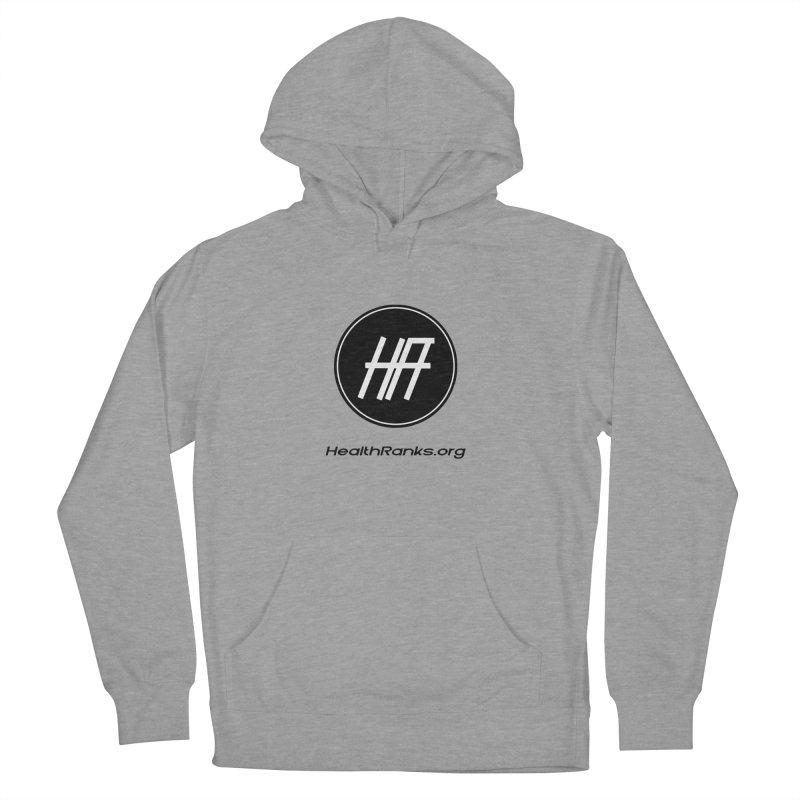 "HR ""official"" logo in Men's French Terry Pullover Hoody Heather Graphite by HealthRanks.org GEAR"
