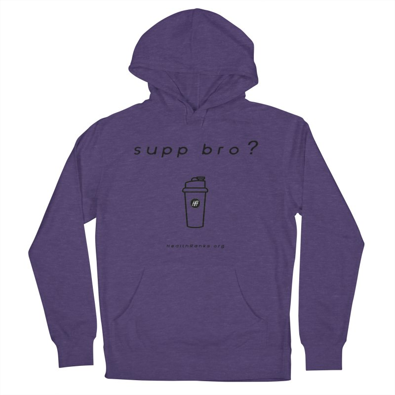 """HR """"supp bro"""" logo Men's French Terry Pullover Hoody by HealthRanks.org GEAR"""