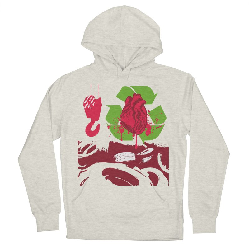 Recycle your Heart Men's French Terry Pullover Hoody by heavybrush's Artist Shop