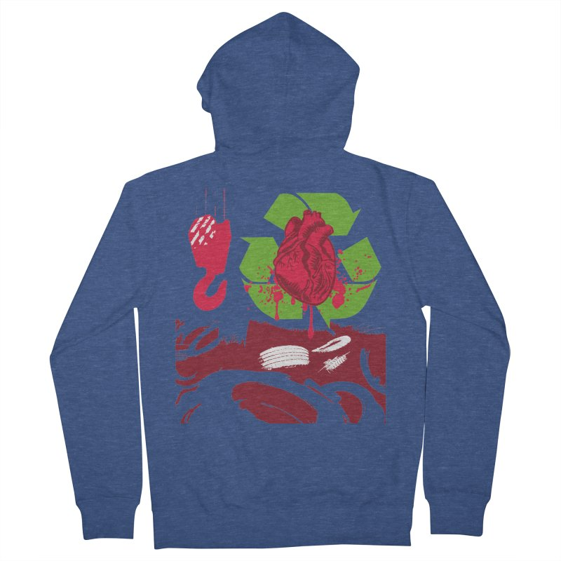 Recycle your Heart Women's French Terry Zip-Up Hoody by heavybrush's Artist Shop