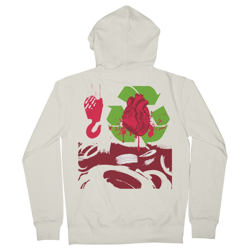 Recycle your Heart Men's French Terry Zip-Up Hoody by heavybrush's Artist Shop