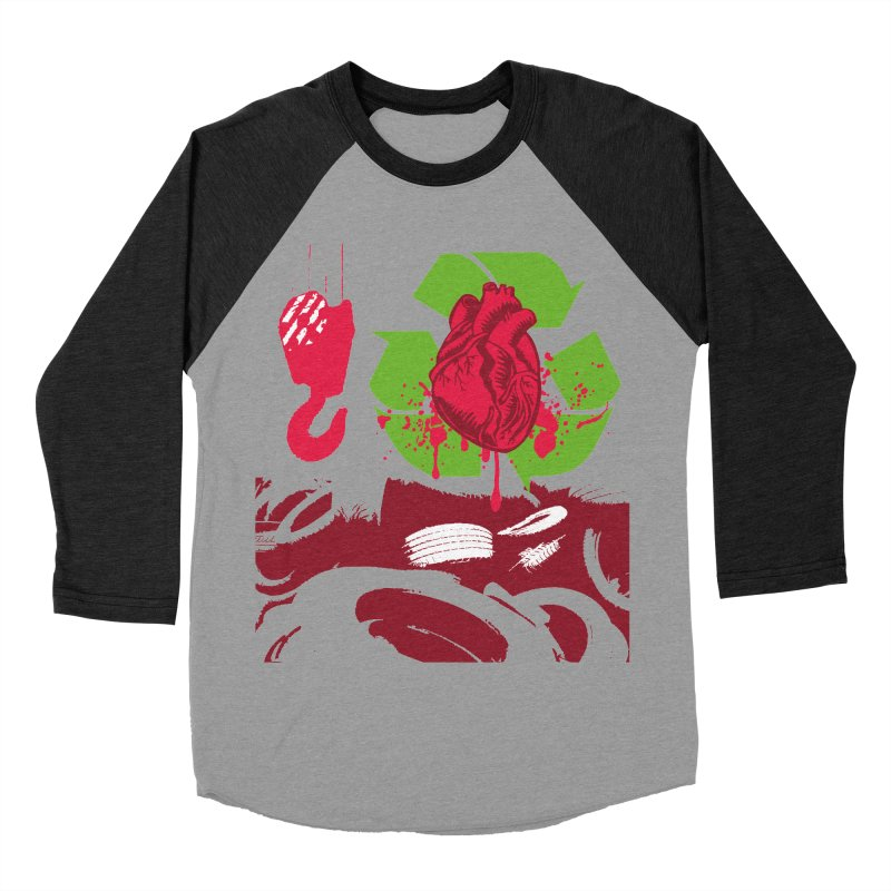 Recycle your Heart Men's Baseball Triblend Longsleeve T-Shirt by heavybrush's Artist Shop