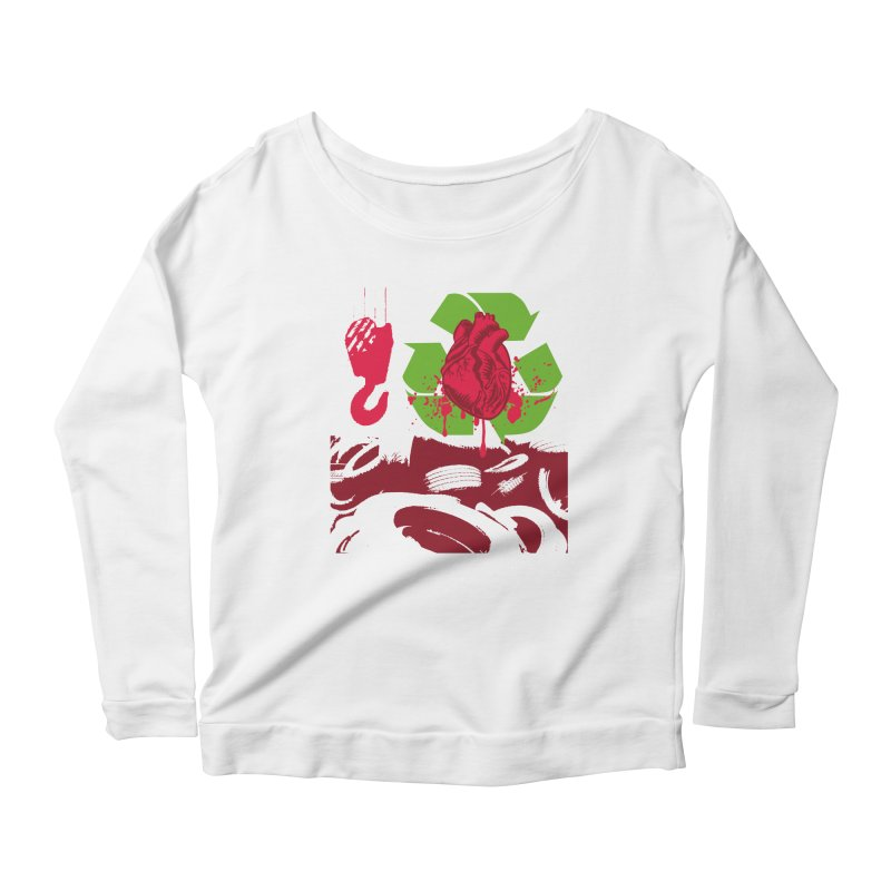 Recycle your Heart Women's Scoop Neck Longsleeve T-Shirt by heavybrush's Artist Shop