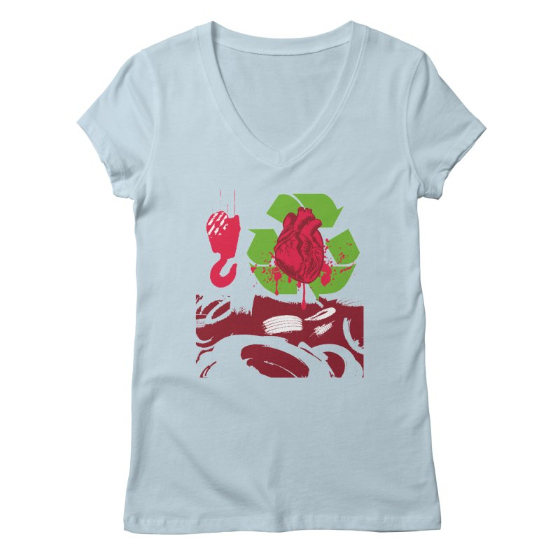Recycle your Heart Women's Regular V-Neck by heavybrush's Artist Shop