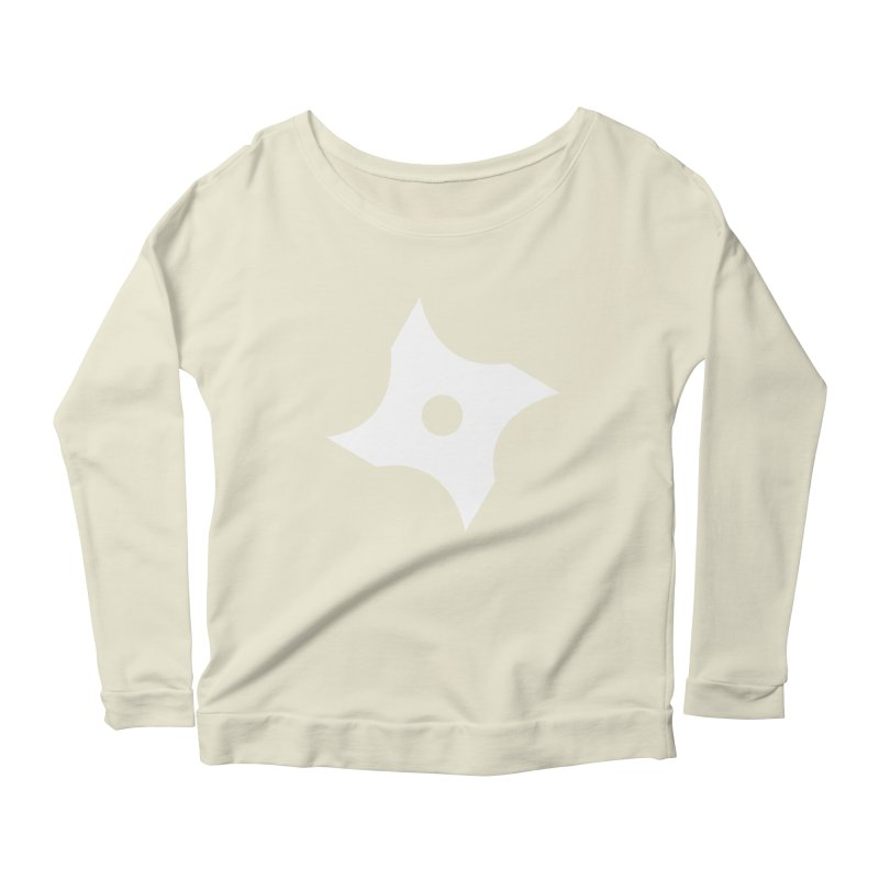 Heavybrush ninja star Women's Scoop Neck Longsleeve T-Shirt by heavybrush's Artist Shop
