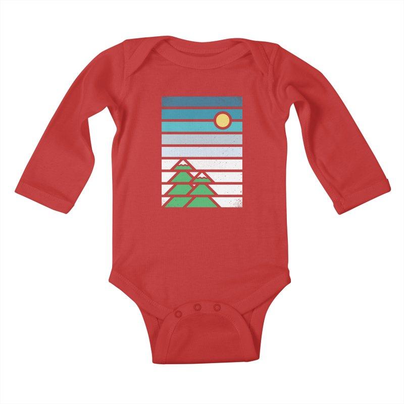 Alpine Sun Kids Baby Longsleeve Bodysuit by heavyhand's Artist Shop
