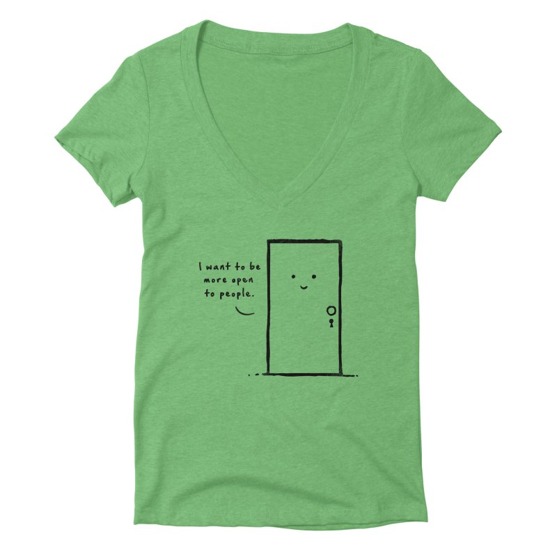 I want to be more open Women's Deep V-Neck V-Neck by heavyhand's Artist Shop