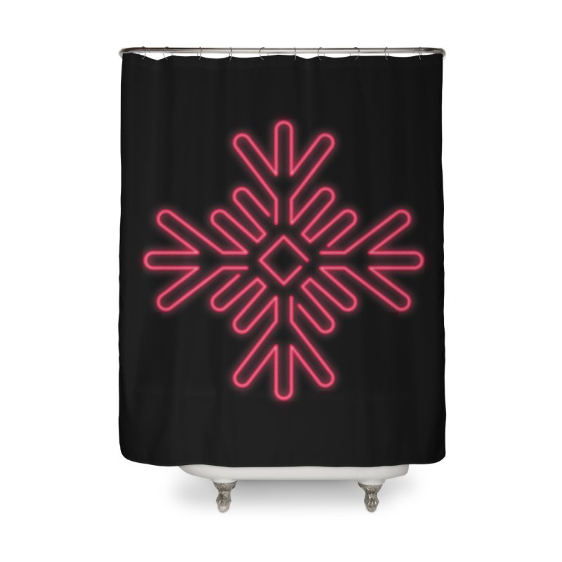 Neon Snowflake Red Home Shower Curtain by heavyhand's Artist Shop