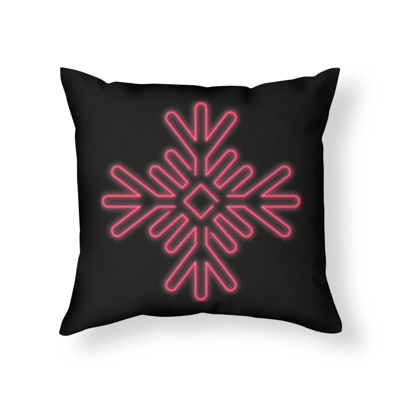 Neon Snowflake Red Home Throw Pillow by heavyhand's Artist Shop