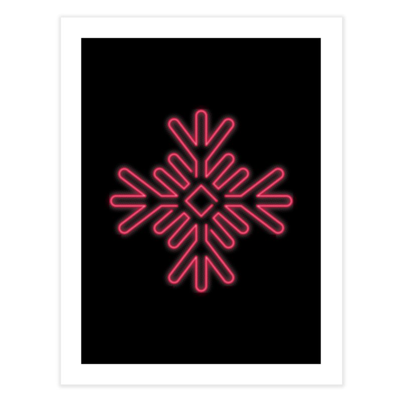Neon Snowflake Red Home Fine Art Print by heavyhand's Artist Shop